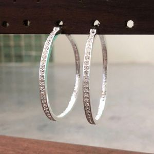 Swarovski Pave Crystal and Sterling Silver Hoops